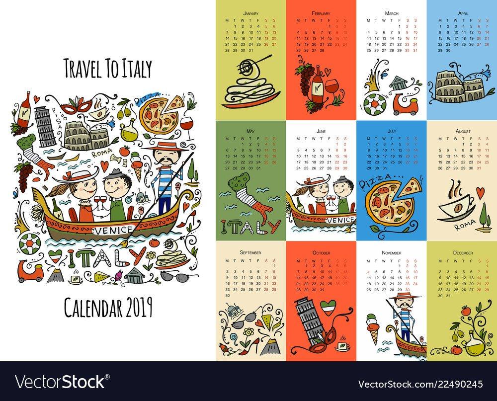 Travel To Italy Calendar 2019 Design Royalty Free Vector Calendar 2019 Travel