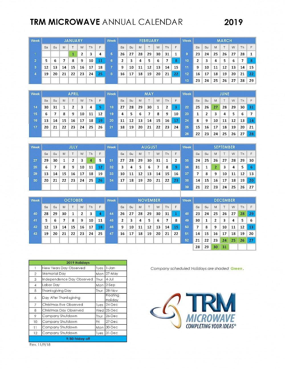 Trm 9/80 Annual Calendar 2019 – Trm Microwave Calendar 9 2019