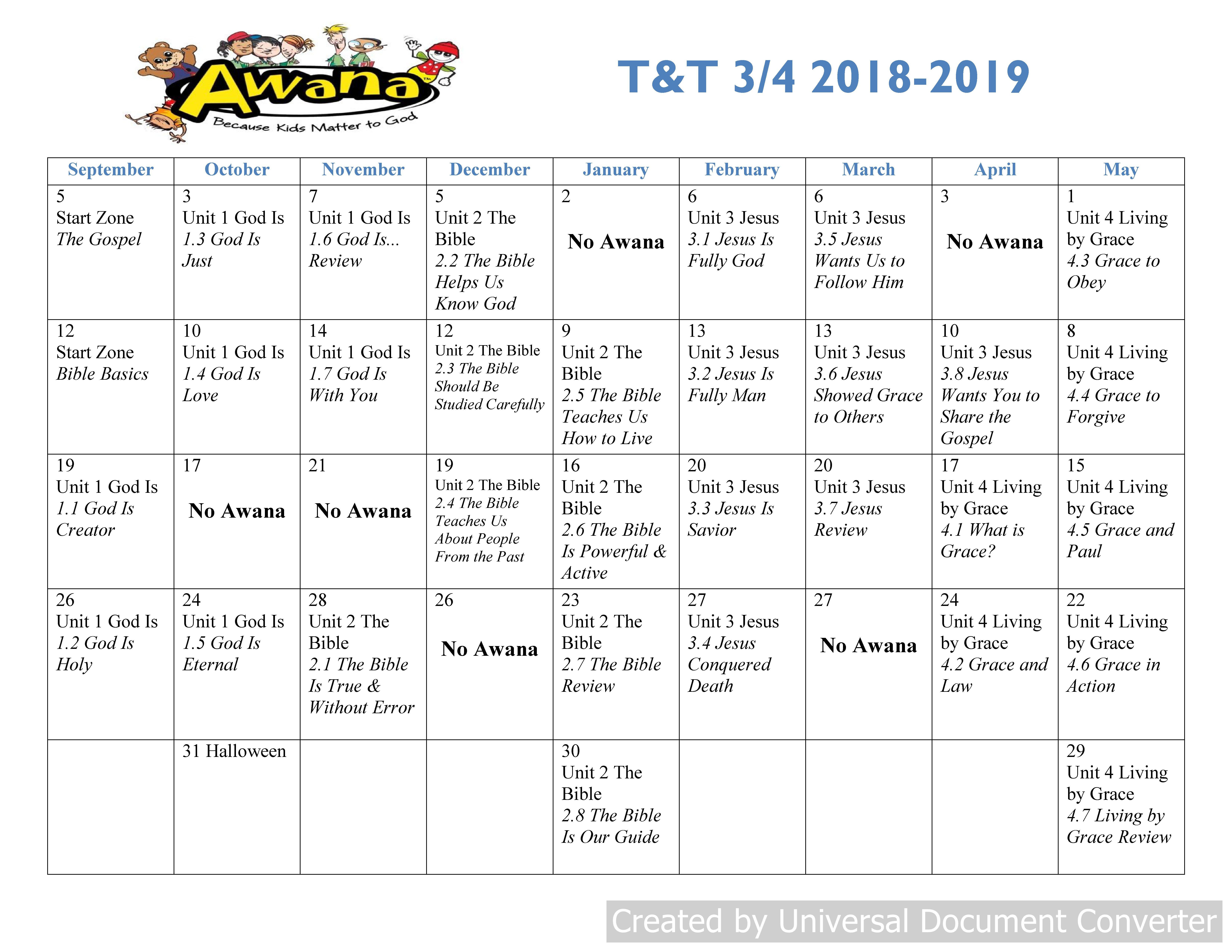 T&t 3Rd 4Th T&t Calendar 2019