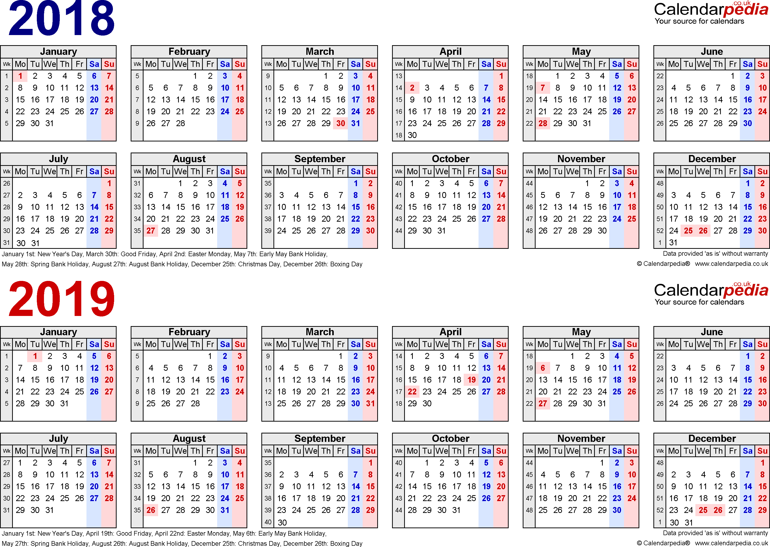 Two Year Calendars For 2018 & 2019 (Uk) For Excel Calendar 2019 Excel Pakistan