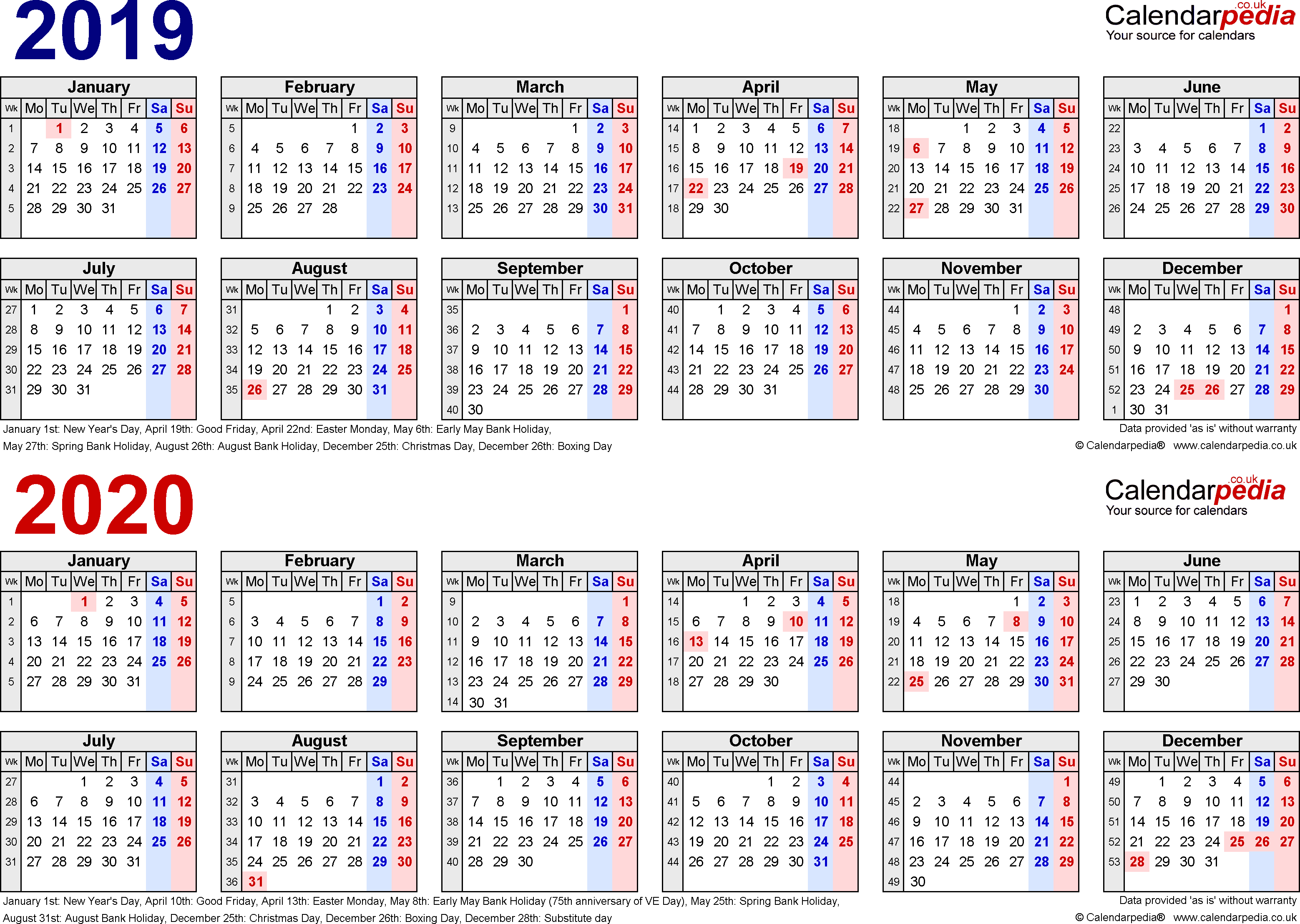 Two Year Calendars For 2019 & 2020 (Uk) For Pdf 2 Year Pocket Calendar 2019 And 2020