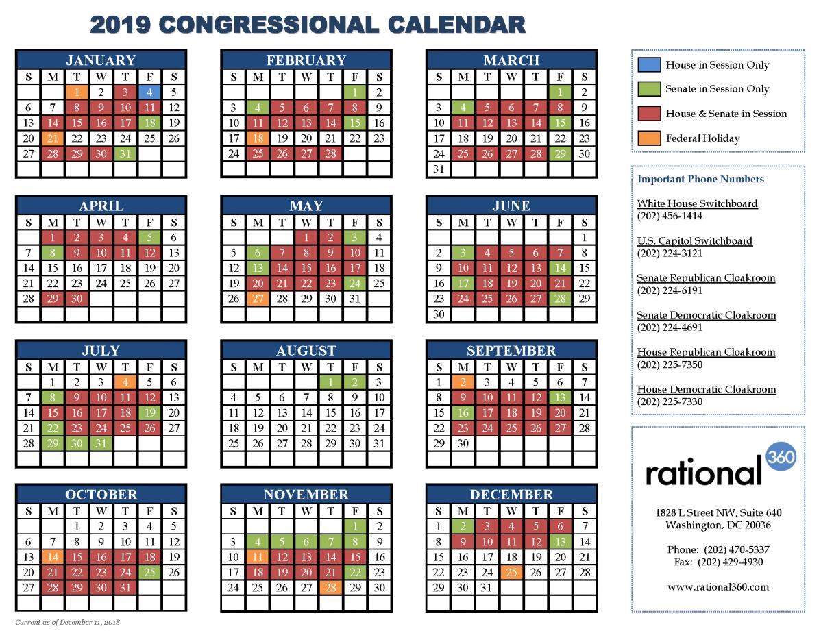 United States Senate Periodical Press Gallery U.s. Senate Calendar 2019