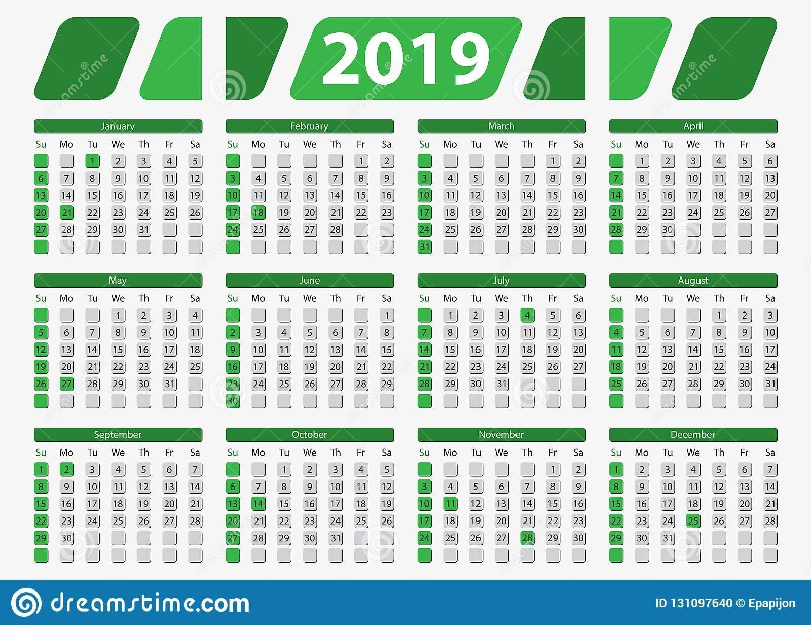 Usa Calendar 2019 With Official Holidays, 5X7 In Stock Vector 5 X 7 2019 Calendar