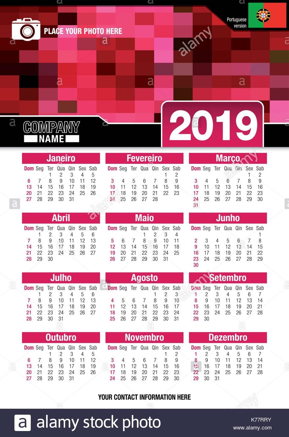 Useful Wall Calendar 2019 With Design Of Red Colors Mosaic. Format Calendar X 2019
