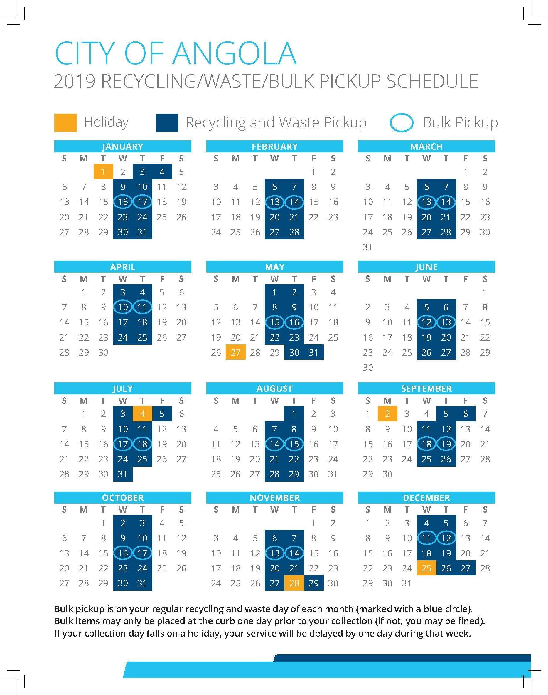 Utilities / City Of Angola, Indiana Calendar 2019 Bulk