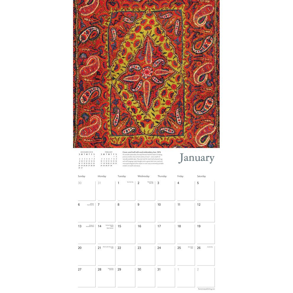 V&a – Persian Textiles Wall Calendar 2019 (Art Calendar) On Onbuy V&a Calendar 2019