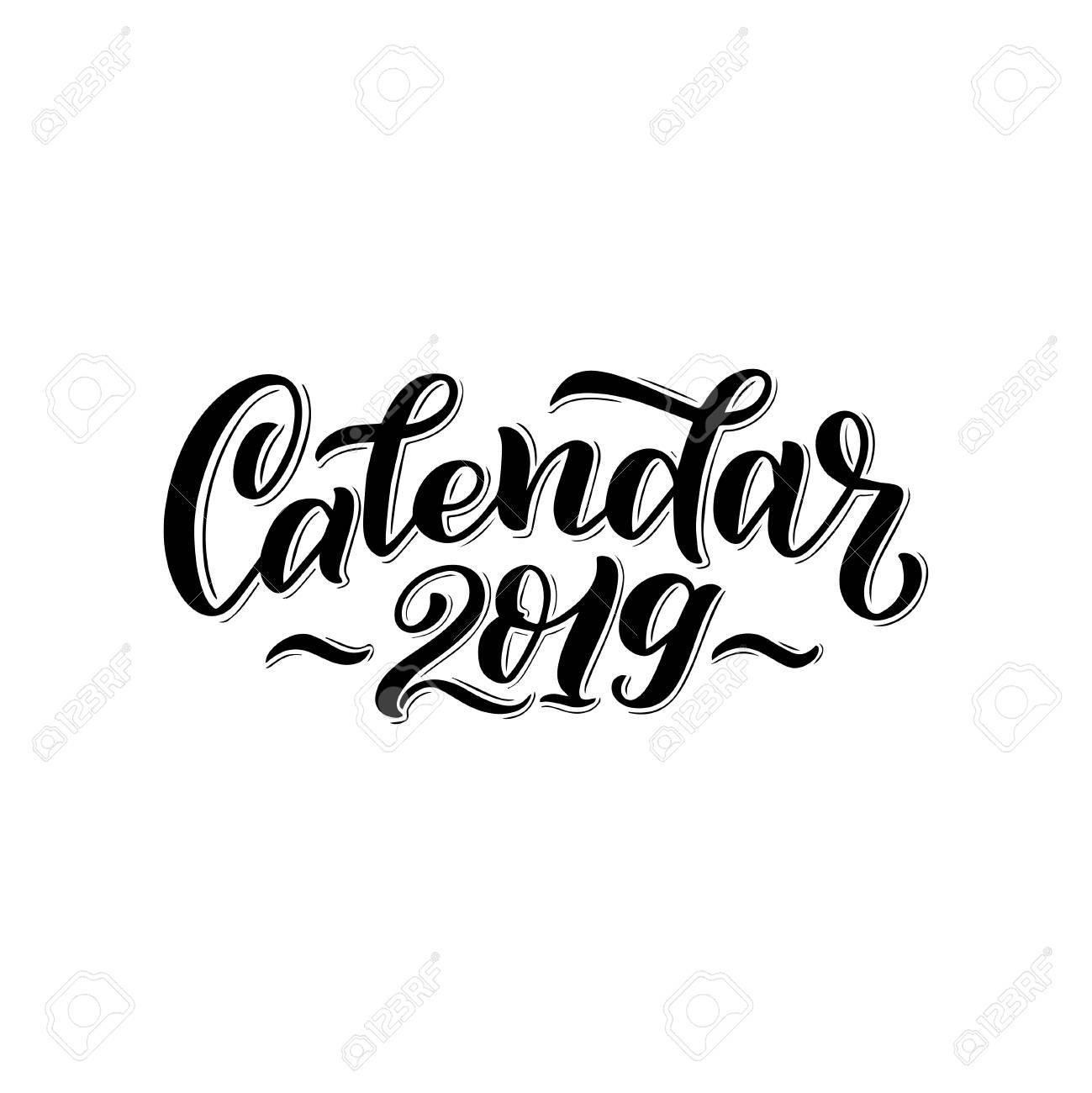 Vector Illustration Of 2019 Calendar Cover. For Print Notebooks Calendar 2019 Cover