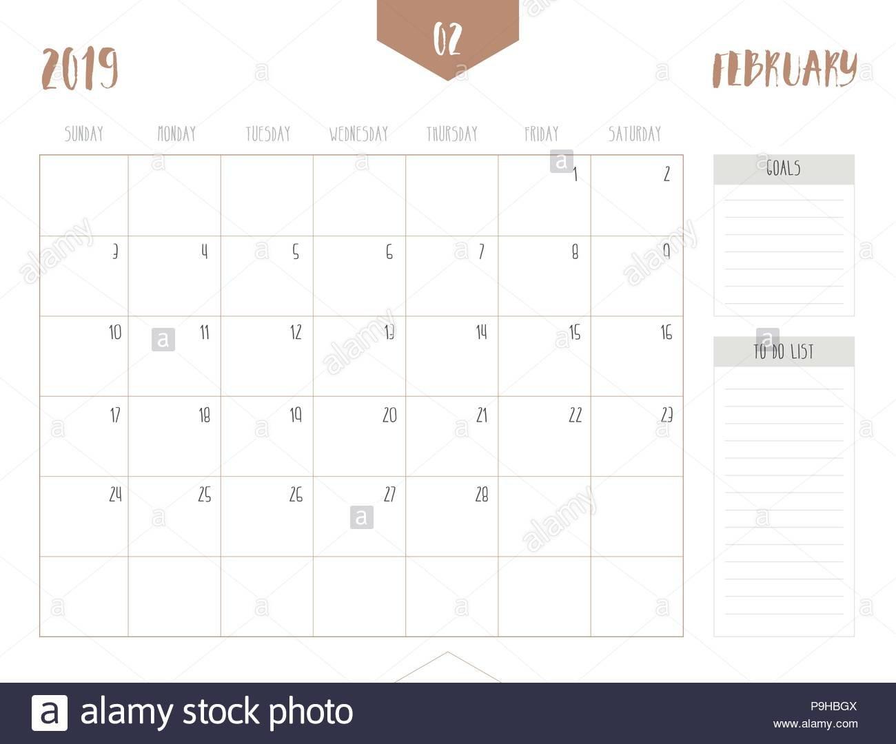 Vector Of Calendar 2019 ( February ) In Simple Clean Table Style Calendar 2019 Goals