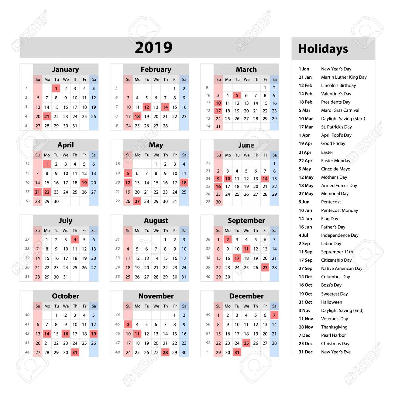 Vector Simple Calendar 2019 – One Year At A Glance – Starts Monday Calendar 2019 At A Glance