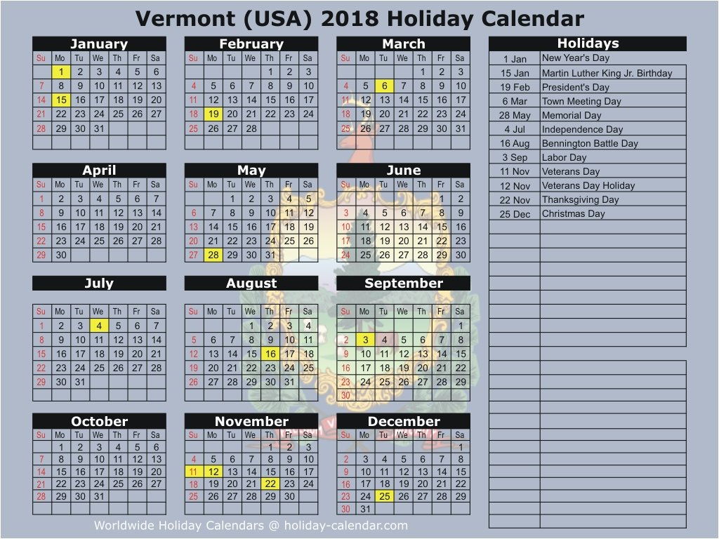 Vermont (Usa) 2018 / 2019 Holiday Calendar Calendar 2019 Vt