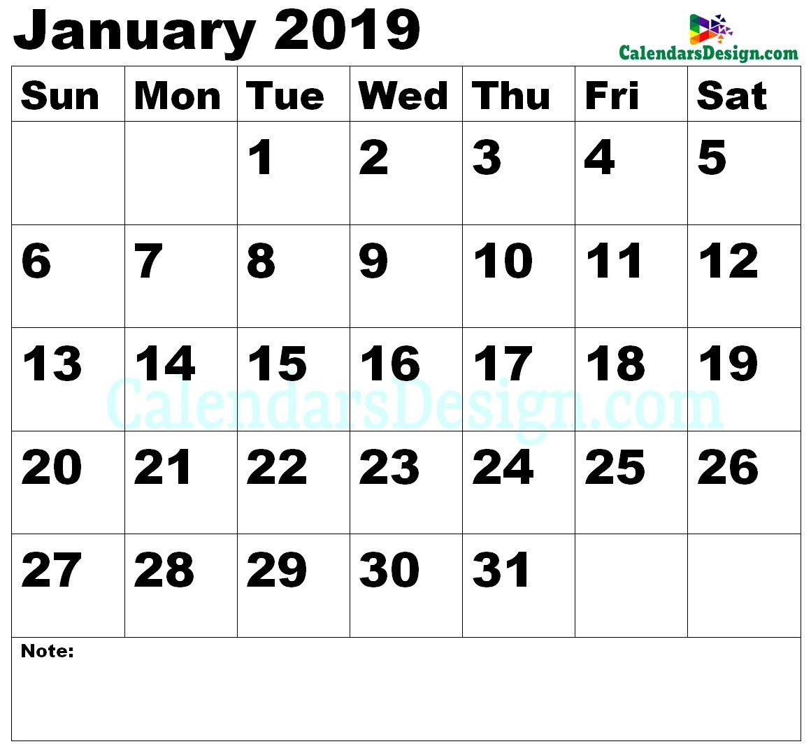 Vertex January Calendar 2019 Printable – Free 2019 Printable Calendar 2019 Vertex