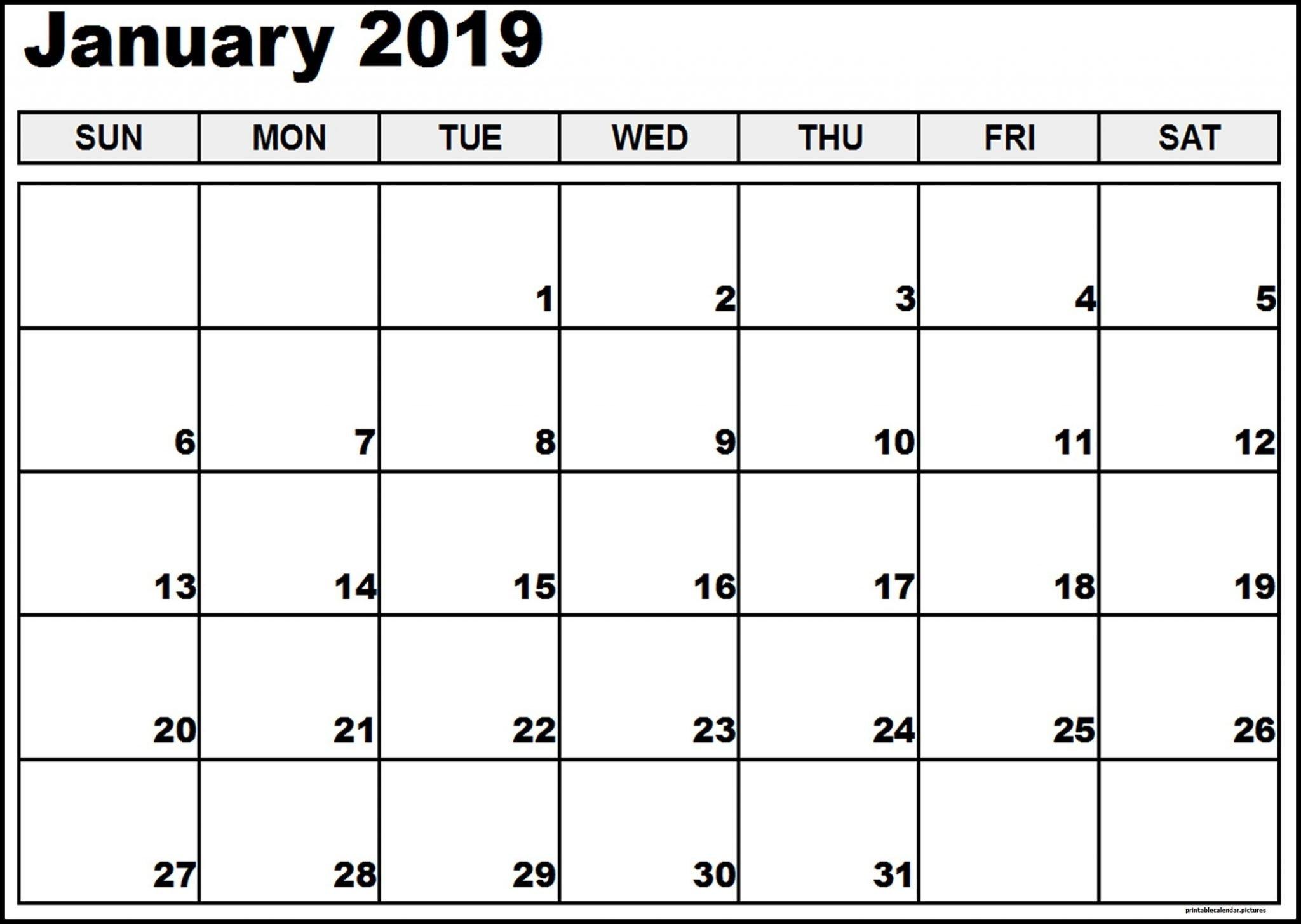 Vertex January Calendar 2019 Printable – Free Printable Calendar Calendar 2019 Vertex