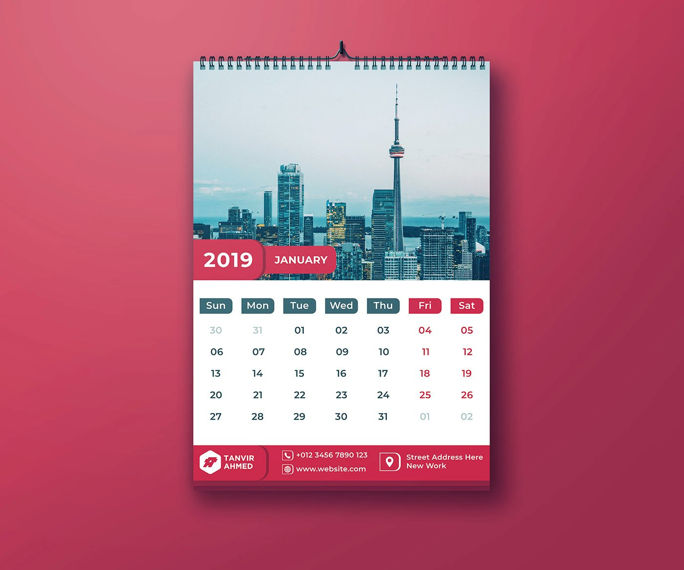 Wall Calendar 2019 | Free Psd Template | Psd Repo Calendar 2019 Template Psd
