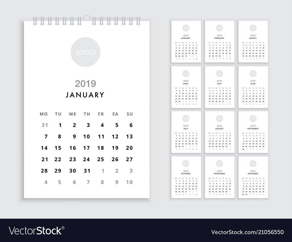 Wall Calendar 2019 Template Royalty Free Vector Image Calendar 2019 Wall