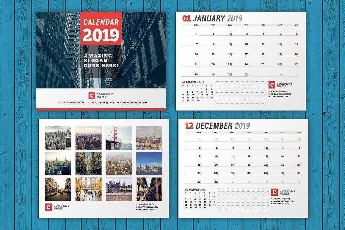 Wall Calendar 2019 (Wc037 19) #monday#starts#download#features Calendar 2019 Indesign