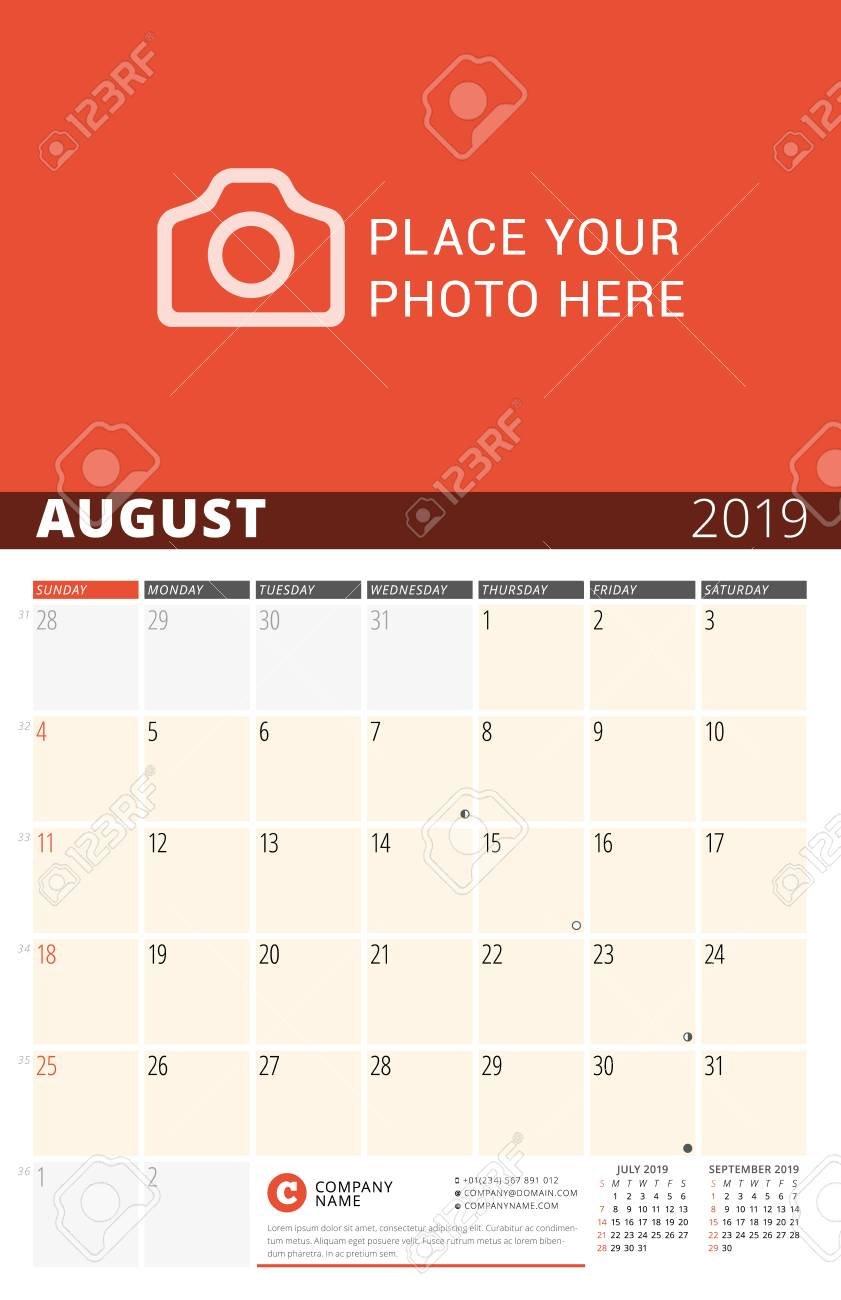 Wall Calendar Planner For 2019 Year. Vector Design Print Template 3 Month Wall Calendar 2019