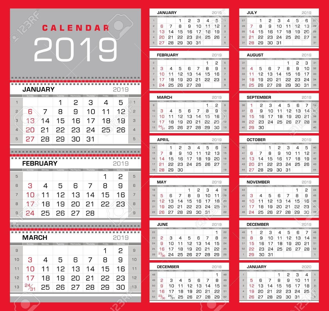 Wall Quarterly Calendar 2019 With Week Numbers On White Background Calendar Week 32 2019