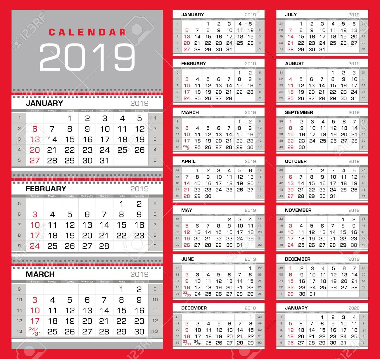 Wall Quarterly Calendar 2019 With Week Numbers On White Background Calendar Week 42 2019