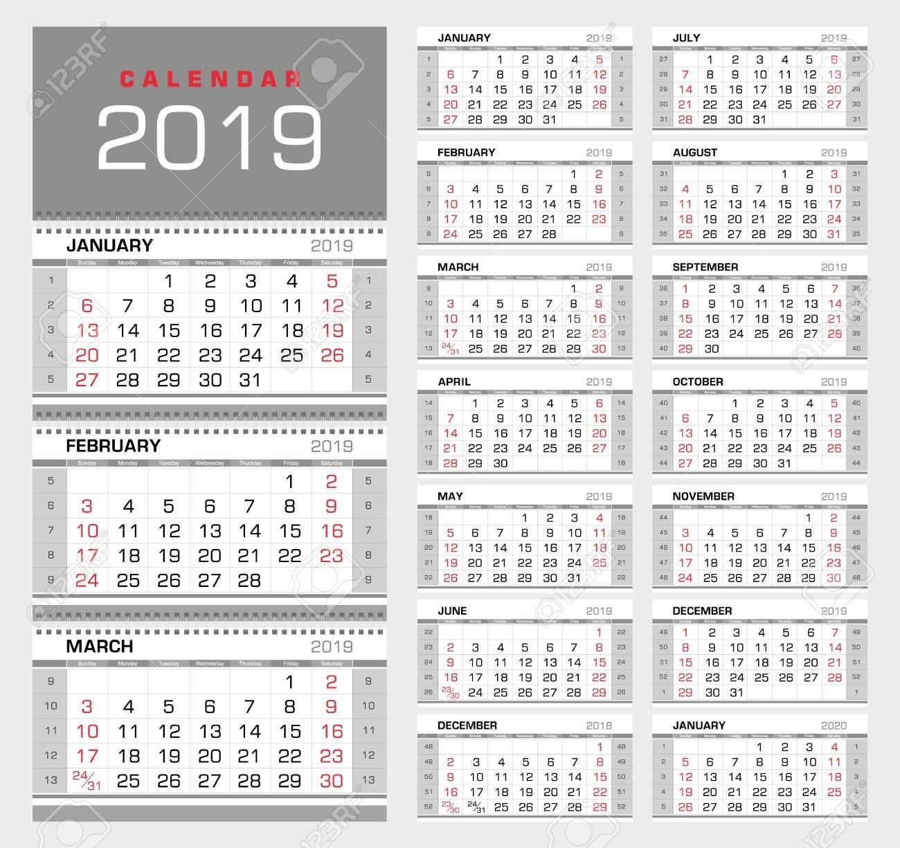 Wall Quarterly Calendar 2019 With Week Numbers. Week Start From.. Calendar Week 42 2019