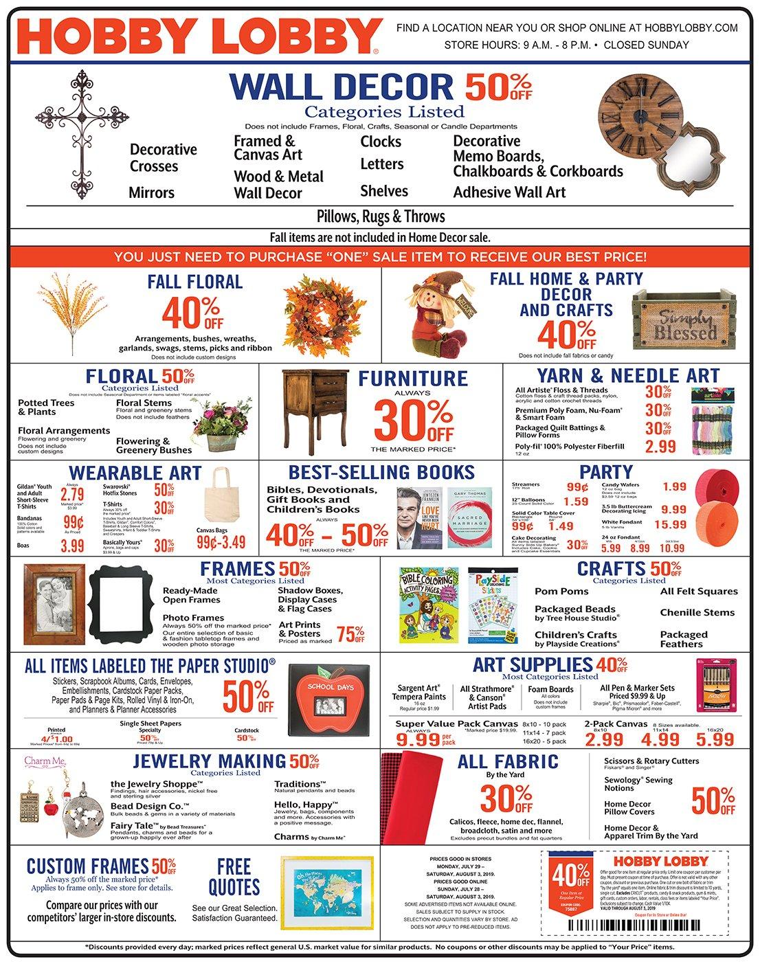 Weekly Ad & Coupon Calendar 2019 Hobby Lobby