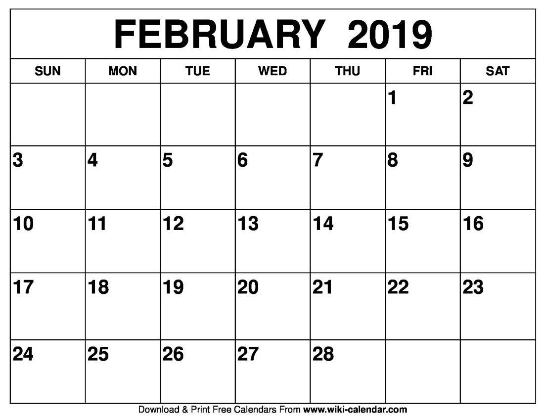Wiki Calendar Blog: Blank February 2019 Calendar Printable Calendar 2019 Blog