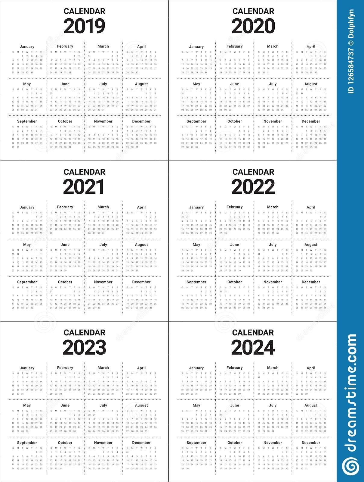 Year 2019 2020 2021 2022 2023 2024 Calendar Vector Design Templa 5 Year Calendar 2019 To 2023 Printable
