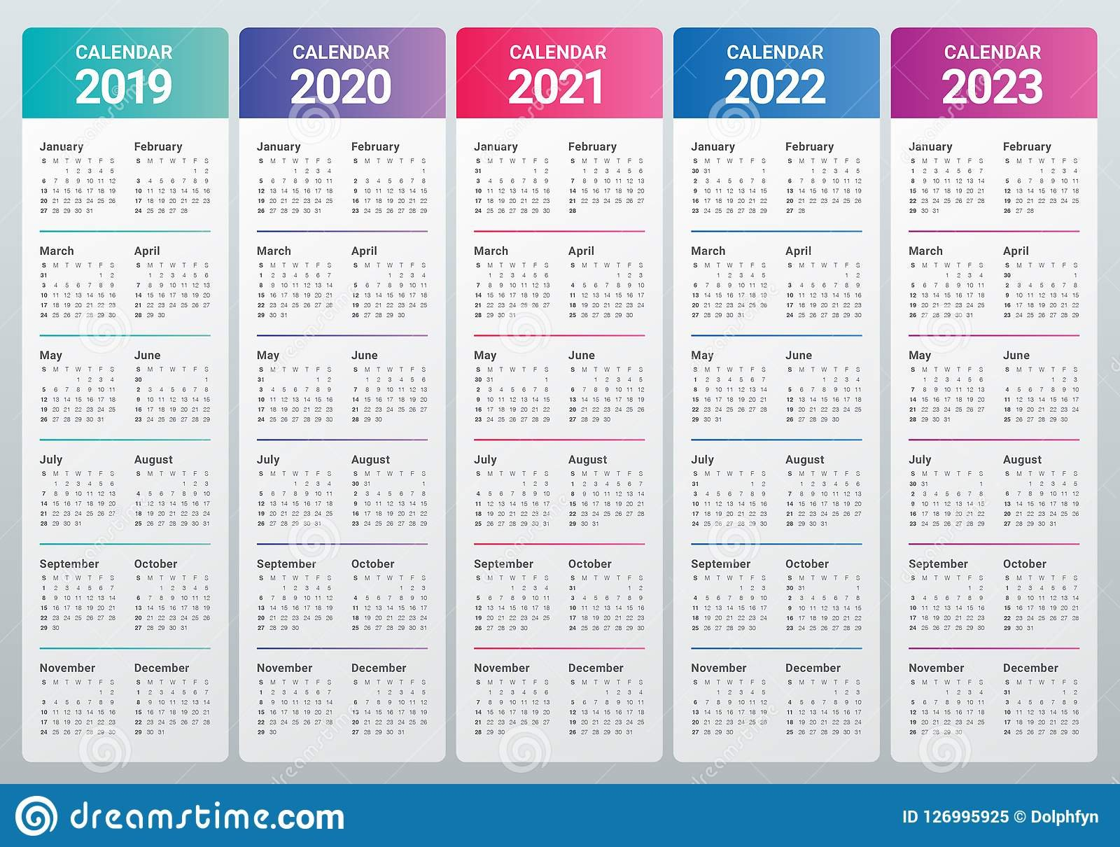 Year 2019 2020 2021 2022 2023 Calendar Vector Design Template Stock 5 Year Calendar 2019 To 2023 Printable