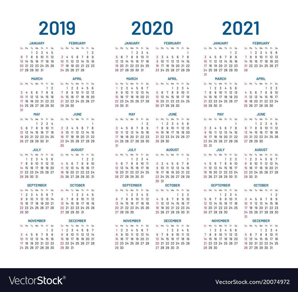 Year 2019 2020 2021 Calendar Royalty Free Vector Image 2 Year Pocket Calendar 2019 And 2020