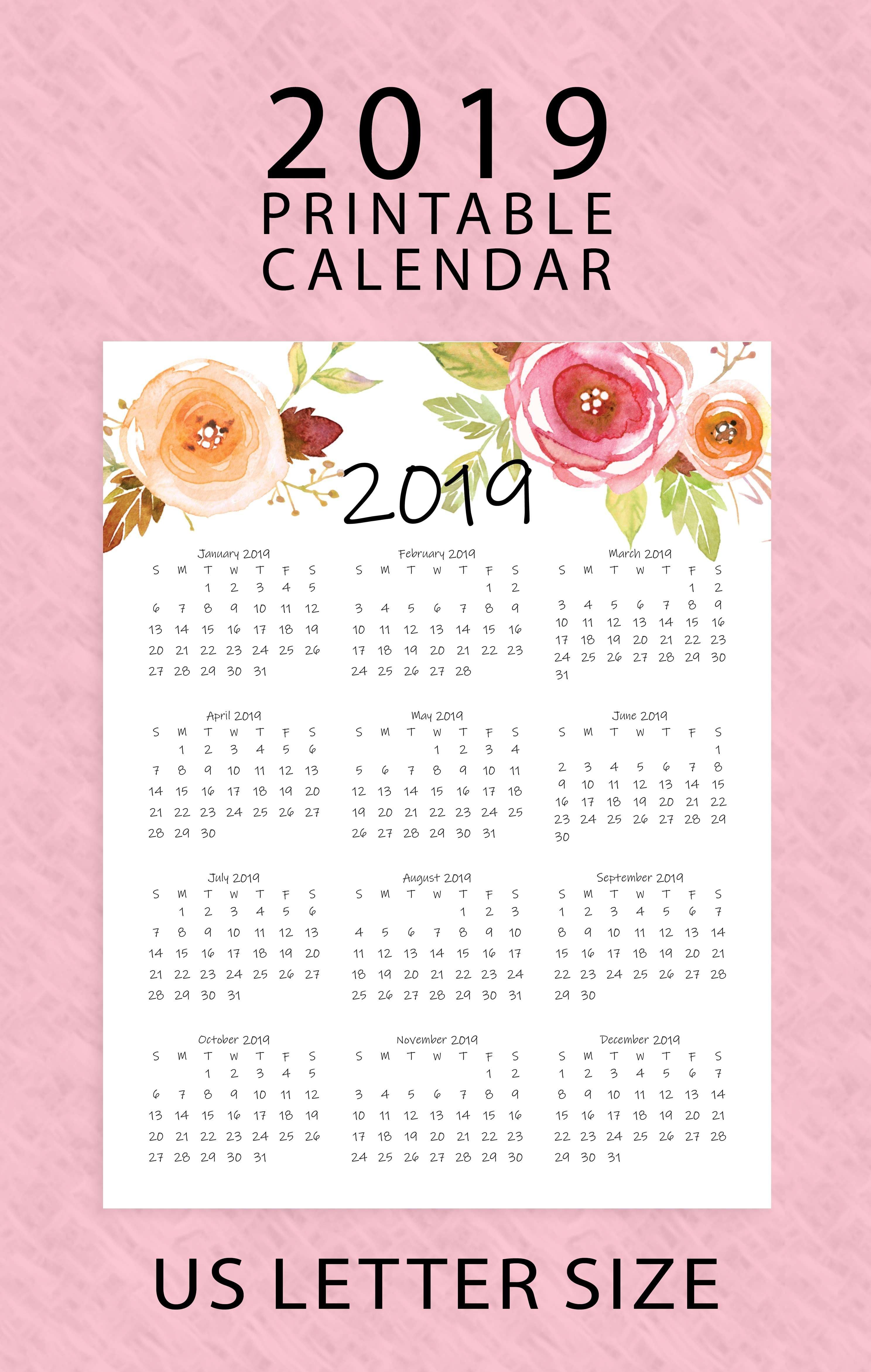 Year At A Glance Calendar 2019 | Printable Calendar | Letter Size X Calendar 2019 Download
