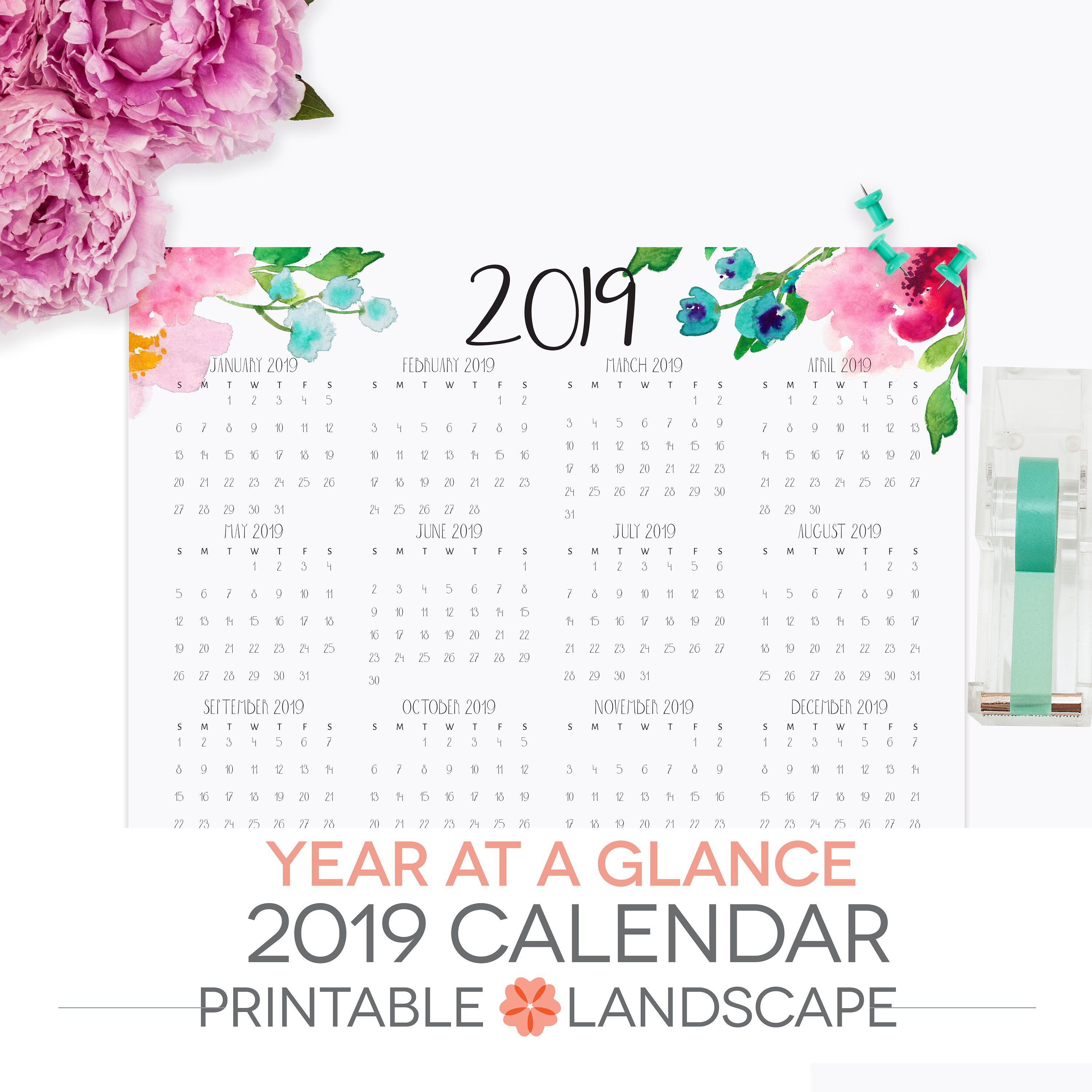 Year At A Glance Calendar 2019 Printable Letter Size | Etsy X Calendar 2019 Download