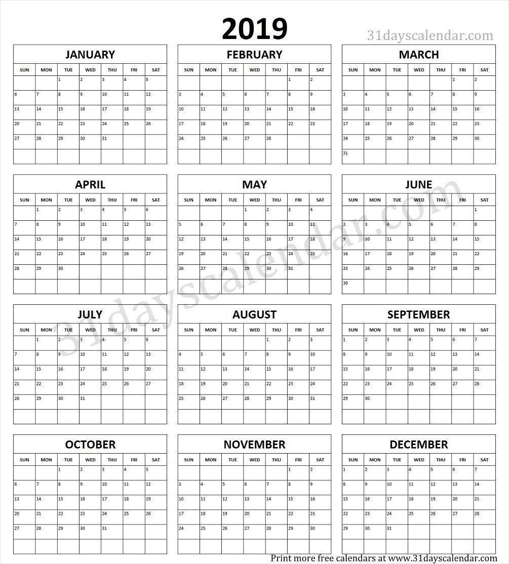 Year Calendar 2019 Printable One Page   Yearly Calendar 2019 In 2019 Calendar 2019 Liga Mx