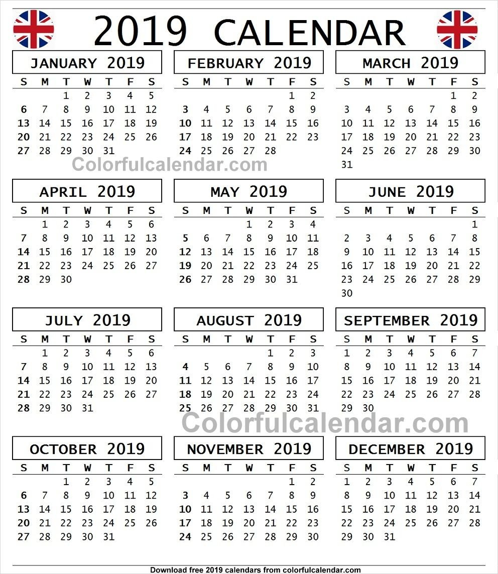 Year Calendar 2019 United Kingdom | 2019 Yearly Calendar | 2019 Unit 4 Calendar 2019