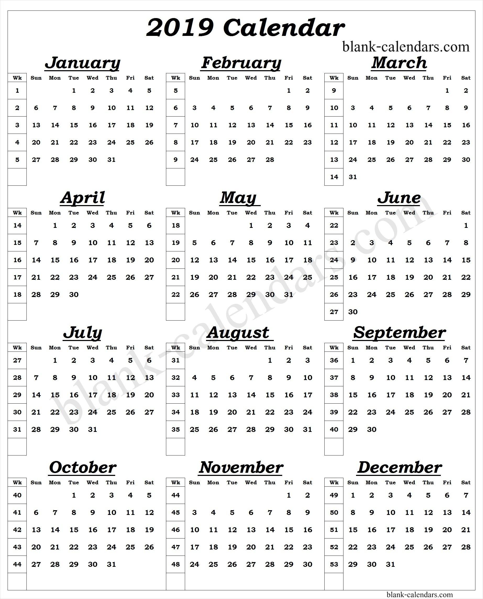 Year Calendar 2019 With Week Numbers (1) – Print Blank Calendar Template Calendar 2019 Numbered Weeks