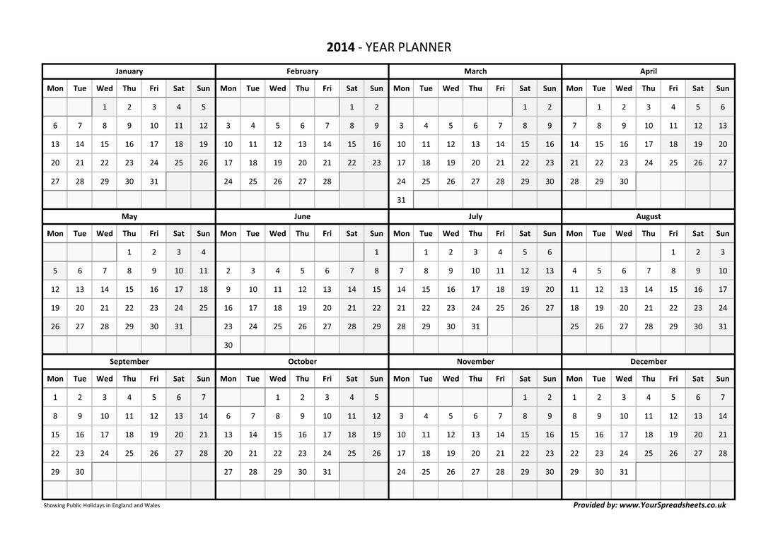 Year Planner Calendar 2019 Excel Romania