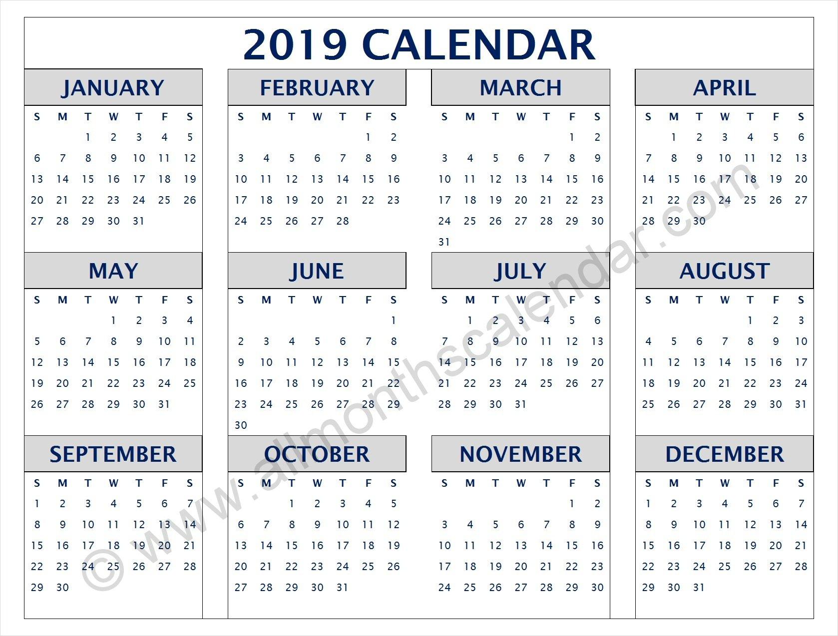 Yearly 2019 Calendar Pdf | 12 Month 2019 Calendar Printable Calendar Of 2019 Pdf