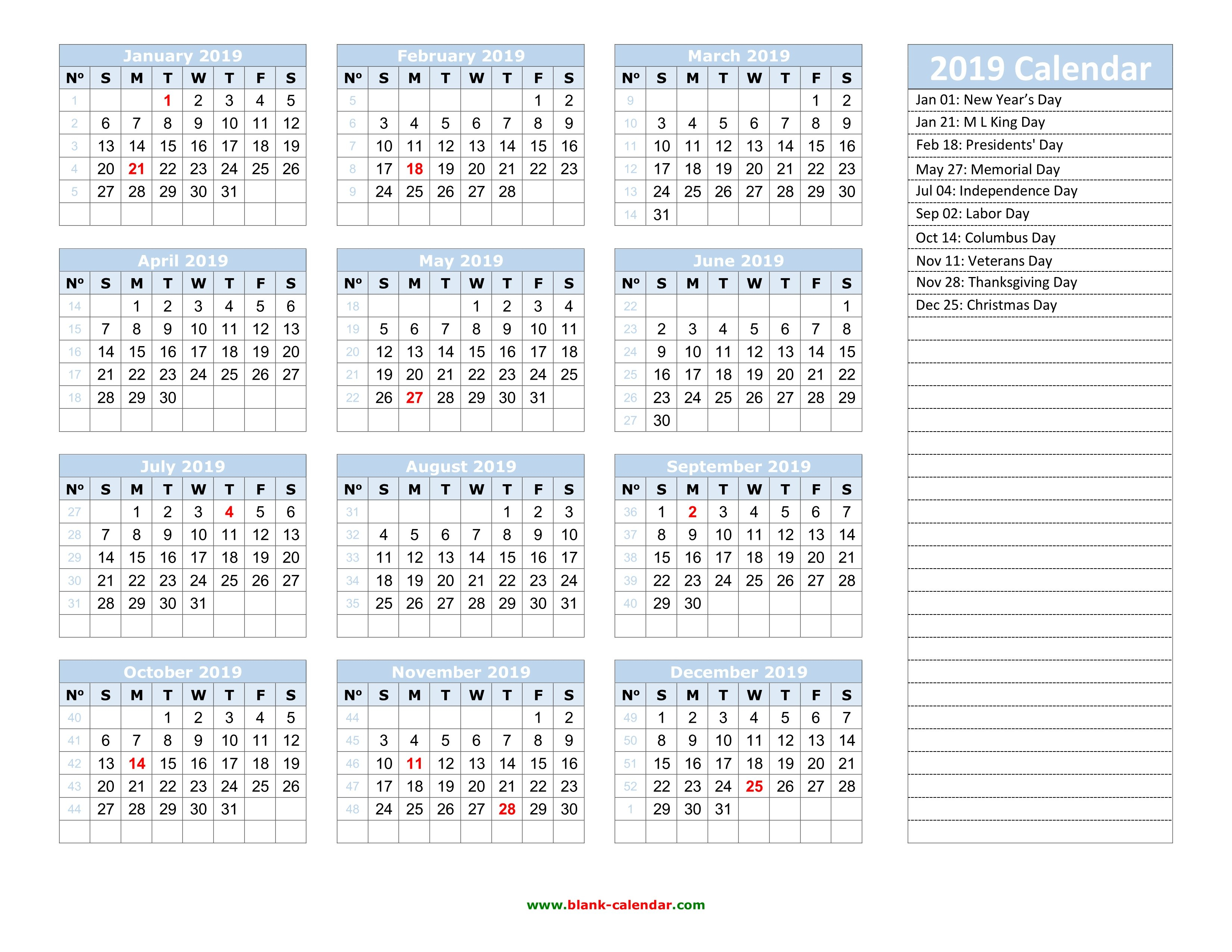 Yearly Calendar 2019   Free Download And Print 2019 Calendar 52 Weeks
