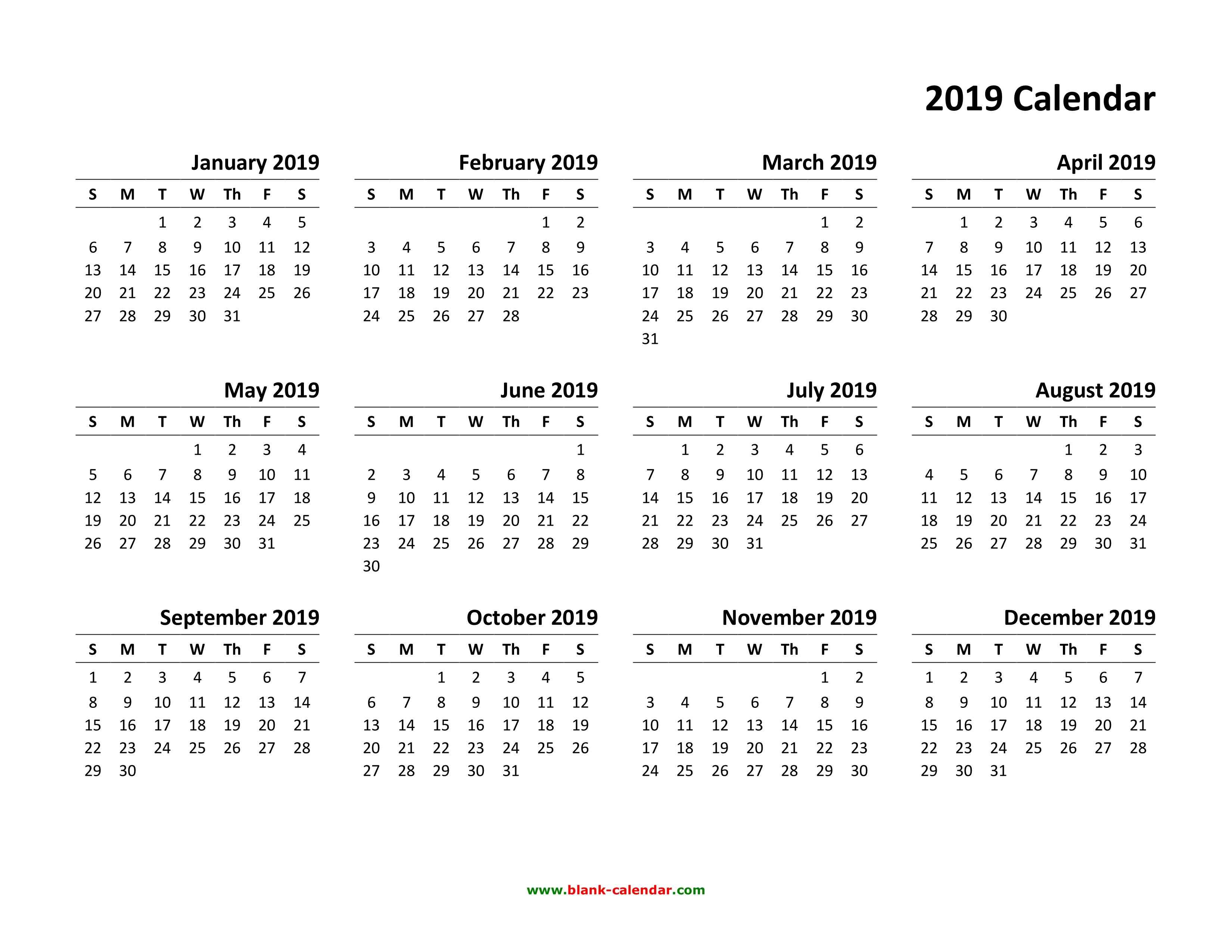Yearly Calendar 2019 | Free Download And Print Calendar 2019 Pdf Free Download