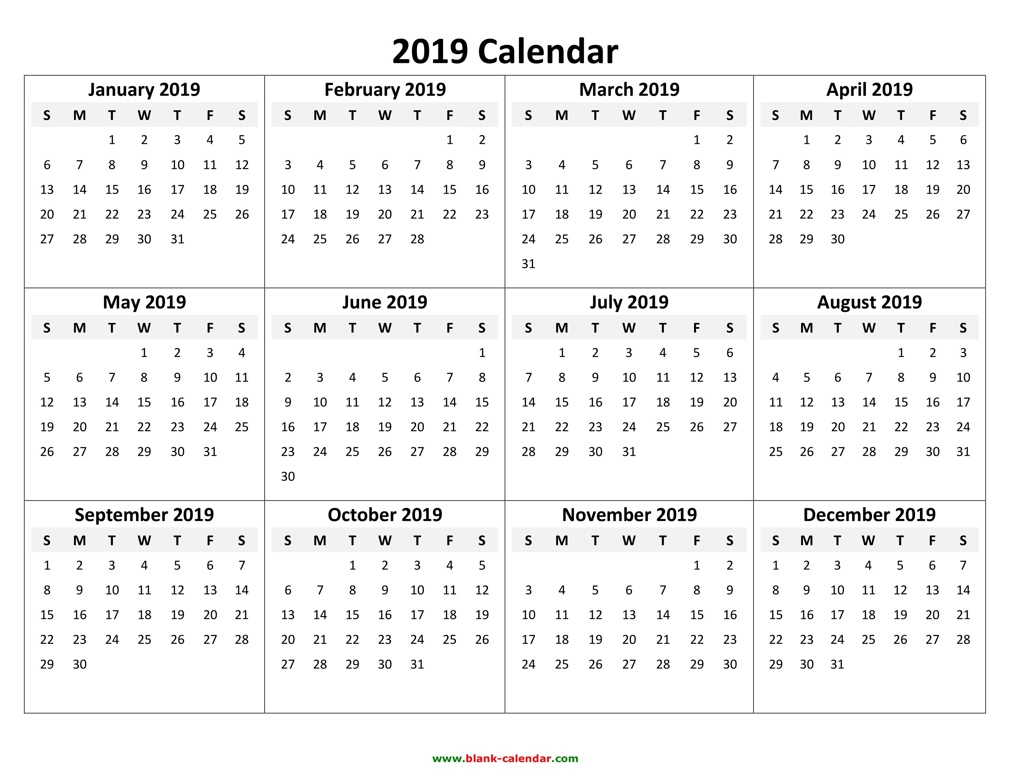 Yearly Calendar 2019   Free Download And Print Calendar 2019 Template Pdf