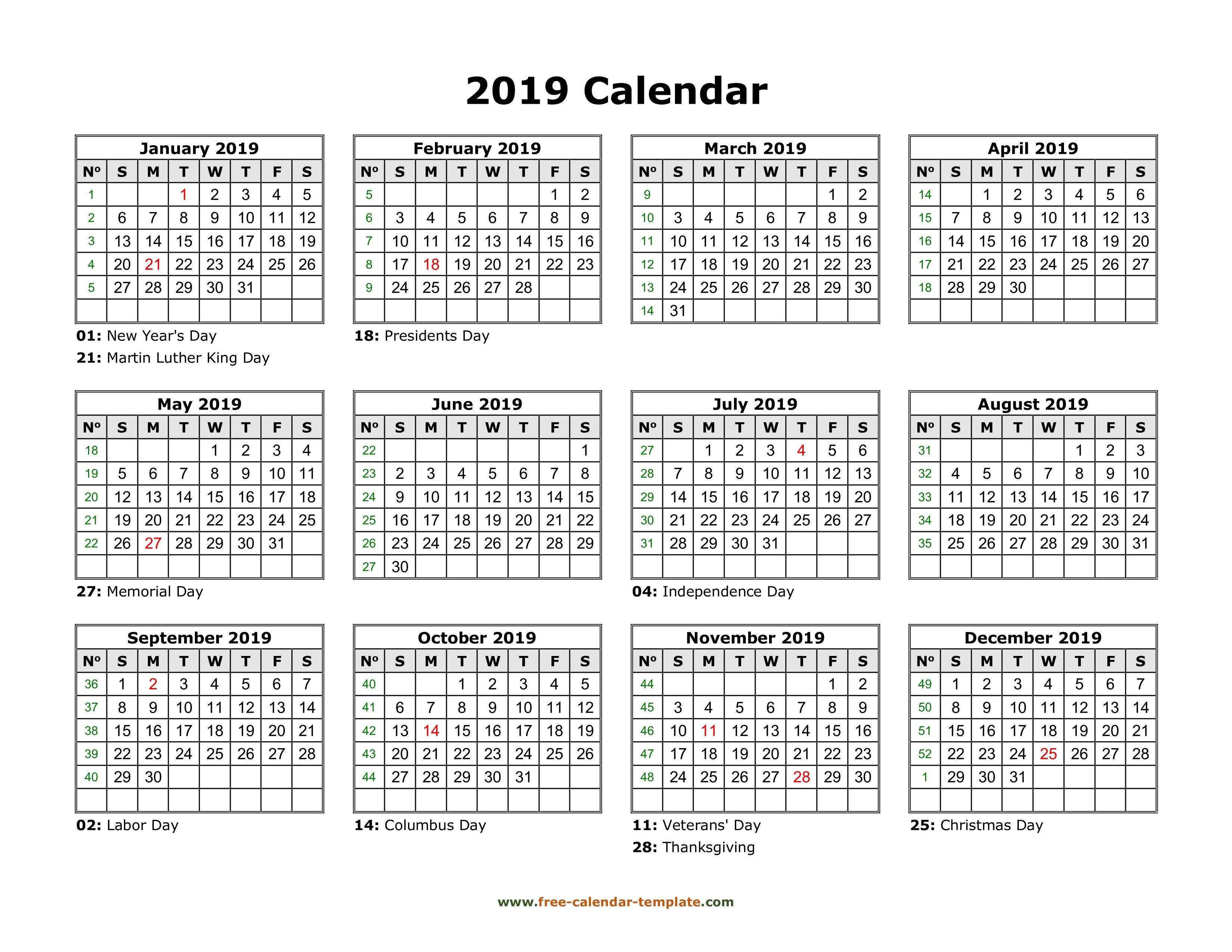 Yearly Calendar 2019 Printable With Federal Holidays | Free Calendar Calendar 2019 View