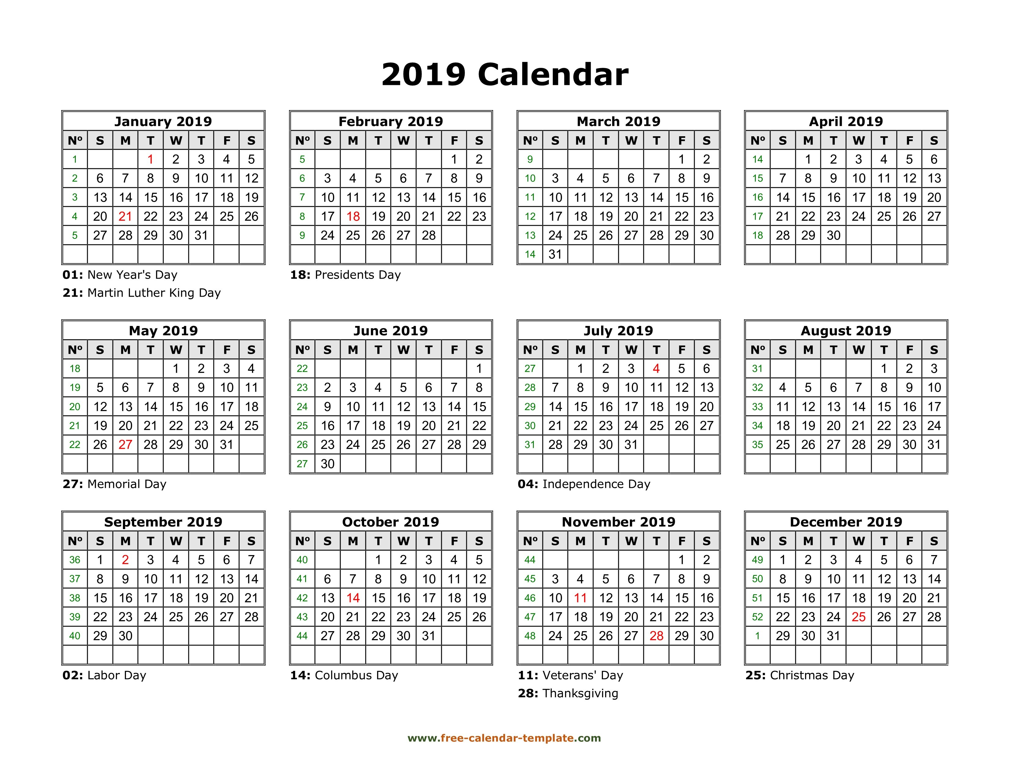 Yearly Calendar 2019 Printable With Federal Holidays | Free Calendar Calendar 2019 Year View