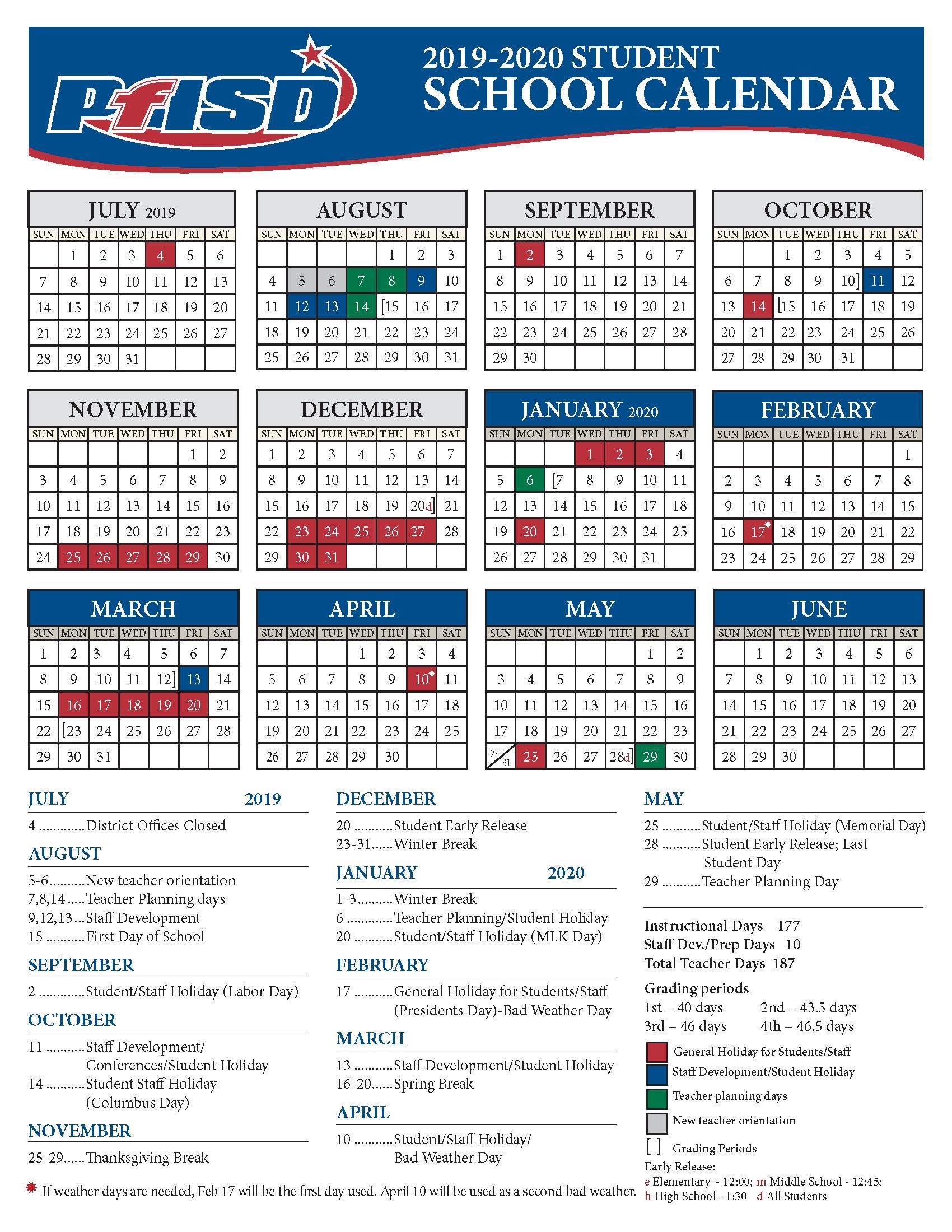 Yearly Calendar – Calendars – Porterville Unified School District Unit 4 Calendar 2019