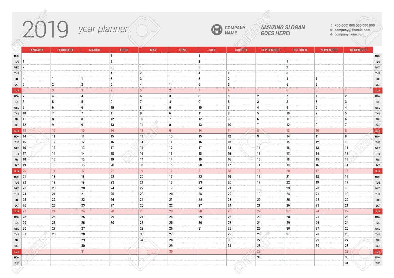 Yearly Wall Calendar Planner Template For 2019 Year. Vector Design Calendar 2019 Planner