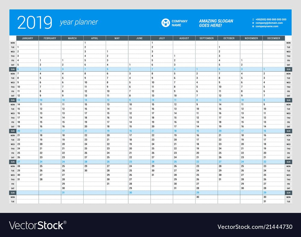 Yearly, Wall, Calendar & Planner Vector Images (50) Calendar 2019 Year Planner