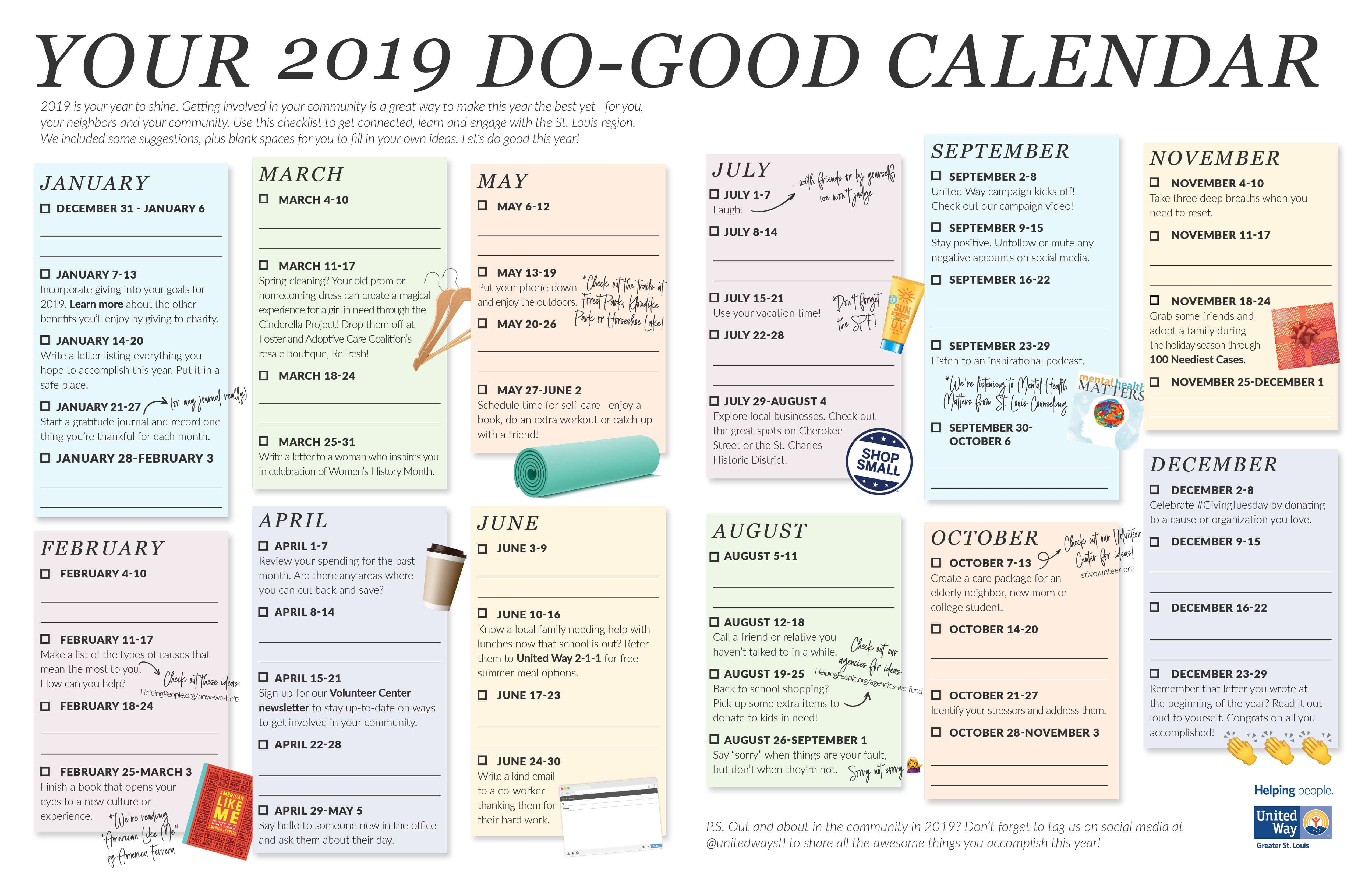 Your 2019 Do Good Calendar | United Way Greater St. Louis Calendar 2019 Fill In
