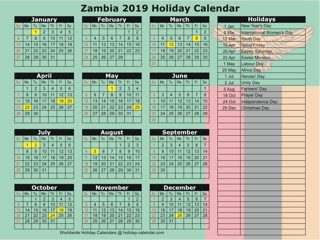 Zambia 2019 / 2020 Holiday Calendar Calendar 2019 Holidays