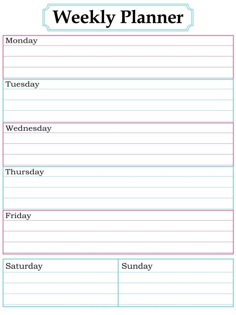 1000 Images About Printable Weekly Calendars On Pinterest Printable One Week Calendar Free