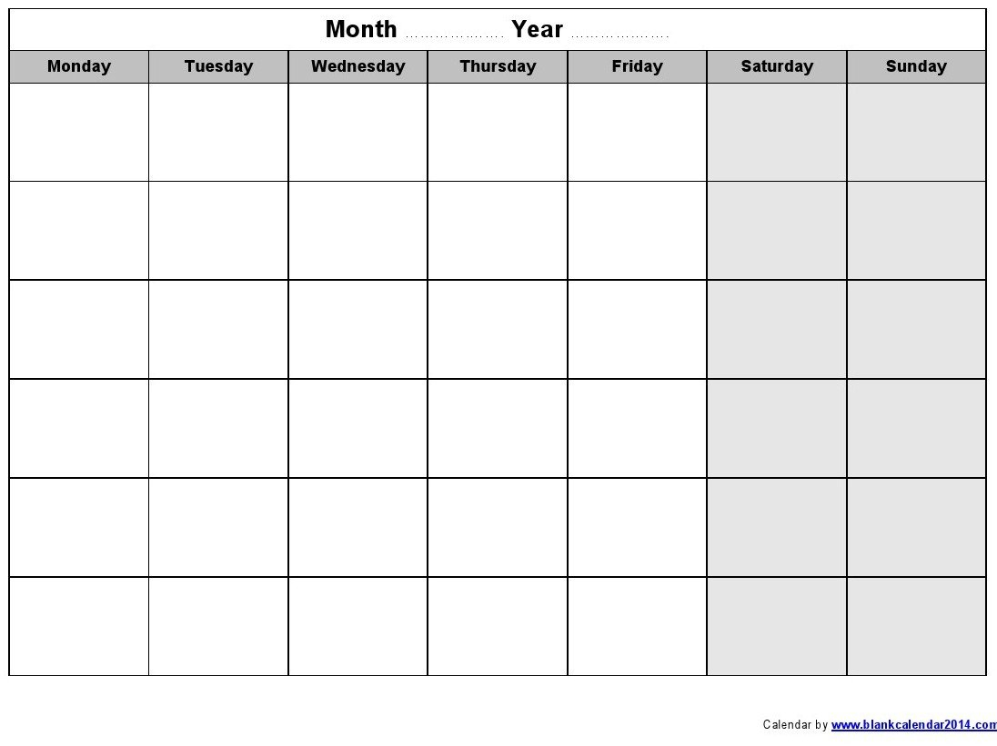 13 Large Blank Monthly Calendar Template Images – Printable Blank Monday Through Friday Month Calendar Template