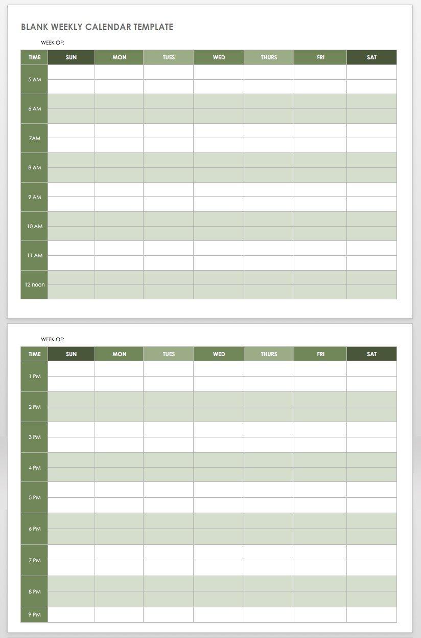 15 Free Weekly Calendar Templates   Smartsheet 4 Week Planner Template Word