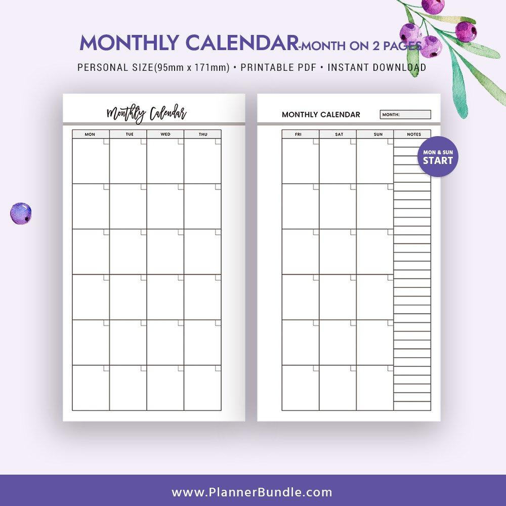 2 Page Calendar Template – Caska Printable 2 Page Monthly Calendar