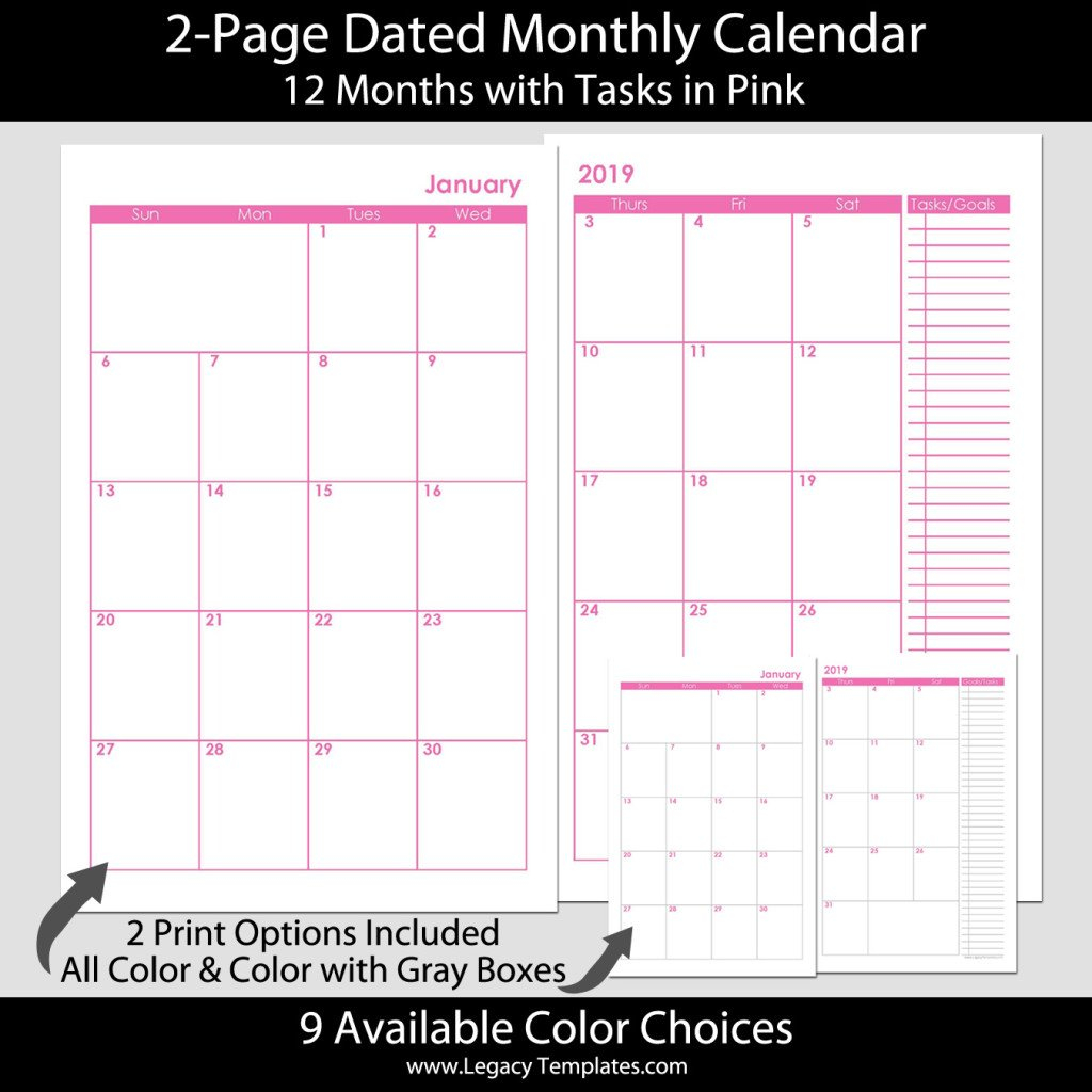 2 Page Dated Monthly Calendar In Pink 5.5 X 8.5 | Legacy 5.5 X 8.5 Calendar Template